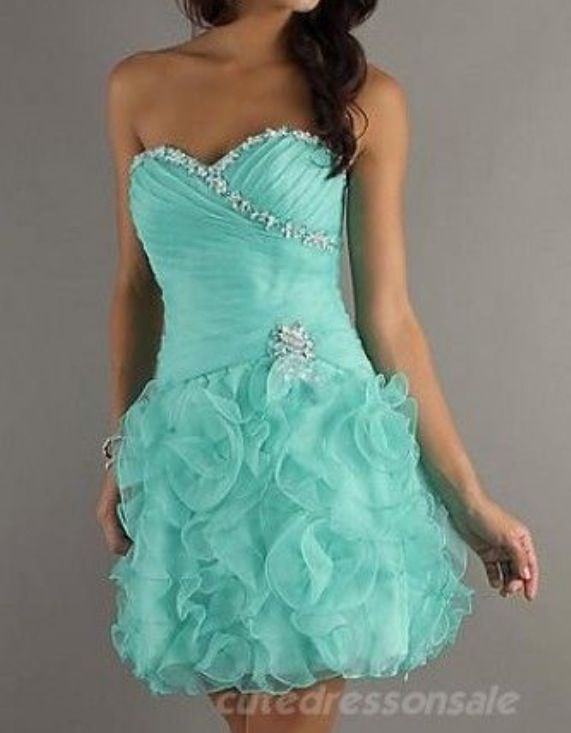 Tight, short, blue, sequined, silver, ruffled, prom, dress