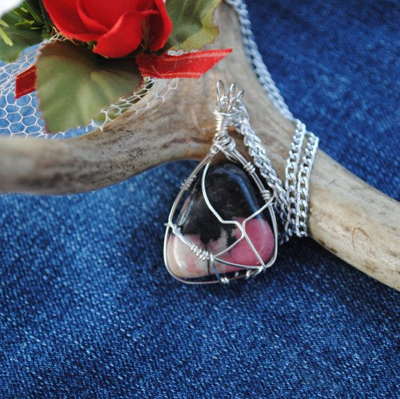 Pink stone necklace wire wrapped rhodonite by Rocks2Gems2Wire