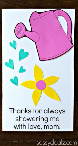 Watering Can Mother's Day Card for kids to make! Would be great for a gardener! (w/ Free Printable)