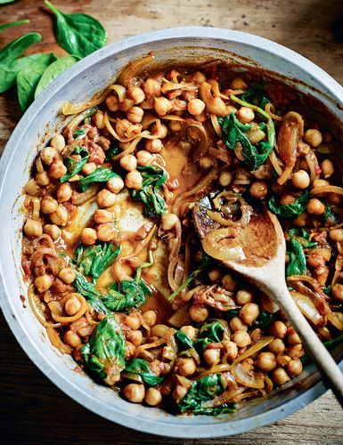 Chana Palak Curry from Dean Edwards' Feelgood Family Food. This simple curry is both nutritious and economical.