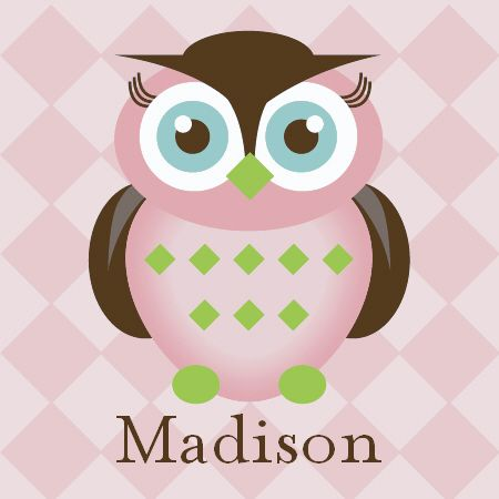 girls owl room   Personalied Girl Owl Wall Art for Kids