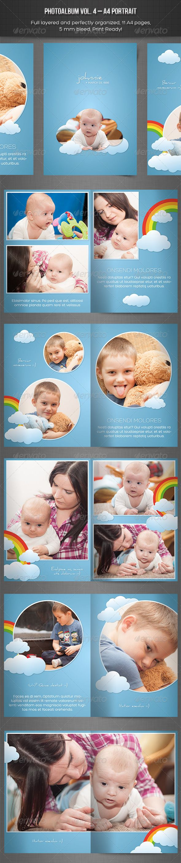 Photo Album Vol. 4 – Portrait InDesign Template  #GraphicRiver         Photoalbum vol. 4 – Indesign Template  Made in Adobe InDesign CC    Included .INDD file for InDesign CC and .IDML file for CS4 and later    11 pages   5mm bleed   Print ready   Easy to edit   A4 Size   Separated Layers (text, graphics, photos…)   Used fonts:     Daniel –  .fontsquirrel /fonts/Daniel   Hero – fontfabric /hero-free-font/   See my other print templates:       Photos are NOT included!     Created: 5July13…