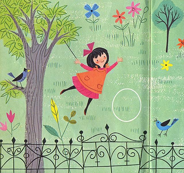 Rolling a hoop on a summer day... (vintage illustration, kids, children)