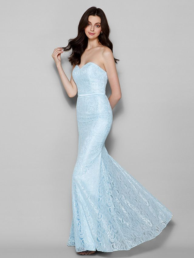 Floor-length Lace Bridesmaid Dress - Sky Blue Plus Sizes / Petite Trumpet/Mermaid Sweetheart - USD $99.99