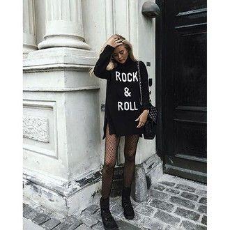 sweater tumblr black dress sweater dress quote on it long sleeve dress bag black bag boots flat boots black boots tights mesh rock