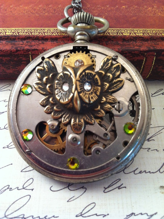 SteamPunk Pocket Watch Necklace with an by fuegodelcorazon on Etsy, $60.00