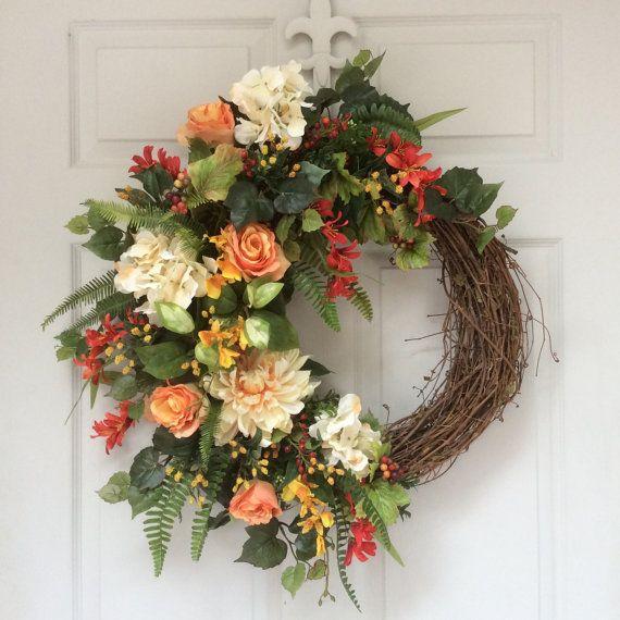 Spring Wreath-Easter Wreath-Summer Wreaths-Tropical Wreath-Front Door Wreath-Mother's Day Gift-Designer Wreath-Wedding Decor-Romantic Wreath