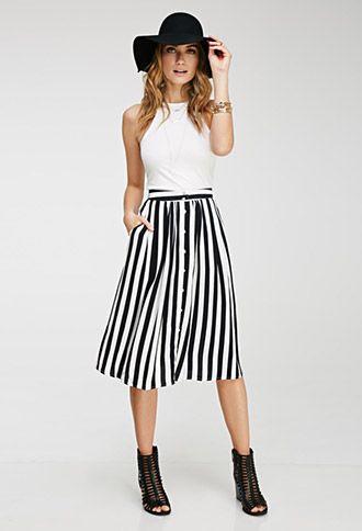 Striped Midi Skirt   FOREVER21 - 2000097003 $20