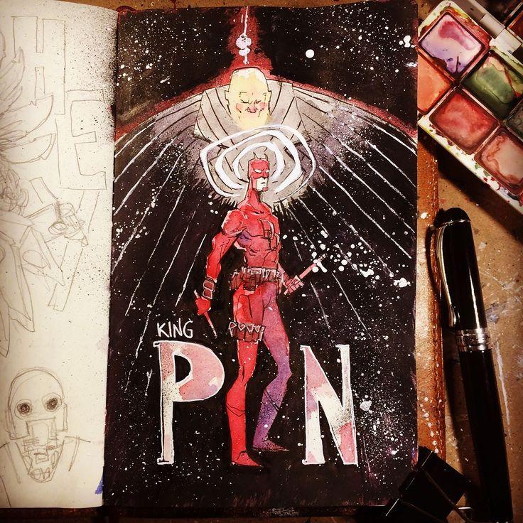 Do the work: http://rndm.us/yr (link @mrjaymyers)  # << SWIPE LEFT FOR MORE << # # #pentel #moleskine #jinhaox750 #drawing #draw #drawndaily #daredevil #wilsonfisk #kingpin #mattmurdock #marvel #art #watercolor
