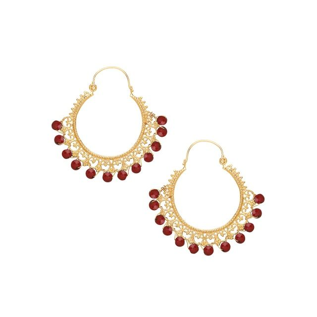 Gorgeous bohemian-chic earrings handmade from 21 ct gold plated brass. This pair from Ottoman Hands features Red Agate beads and intricate lace design.