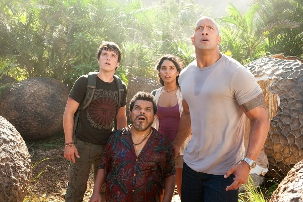 "The Rock smiles a heck of a lot in ""Journey 2: The Mysterious Island"" — the blithely idiotic sequel to 2008's ""Journey to the Center of the Earth."" http://ti.me/wFQ60U"