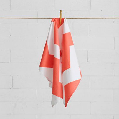 Chevron Grande Tea Towel Neon Coral