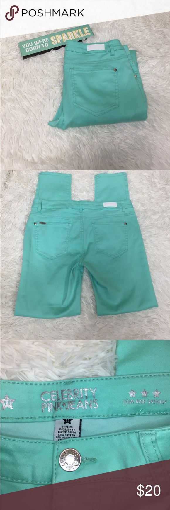 Celebrity pink jeans mint green low rise skinny 11 Celebrity pink jeans mint Green low rise skinny size 11. Lying flat the waist measures 17 inches inseam 31 inches. Excellent condition. Celebrity Pink Pants Skinny
