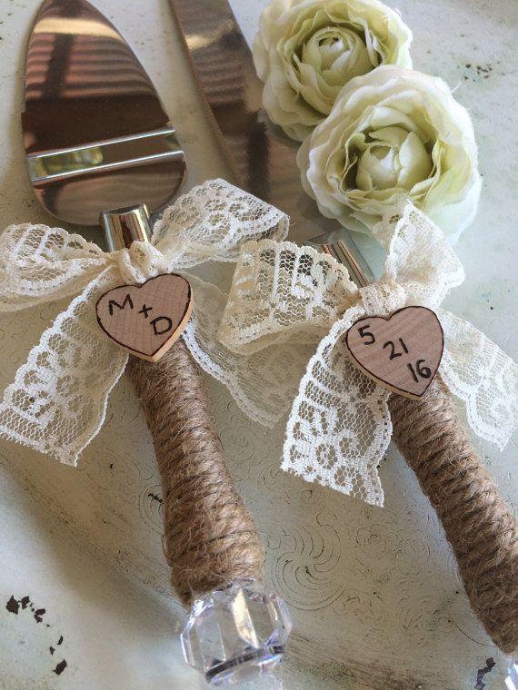 Yute y servidor de pastel de boda de encaje y por hanscreations