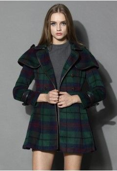 Double Breasted Woolen Skater Coat in Check - Retro, Indie and Unique Fashion