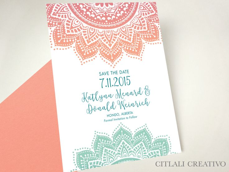 Ombre Mandala Indian Wedding Save the Dates - made to order by citlalicreativo.com