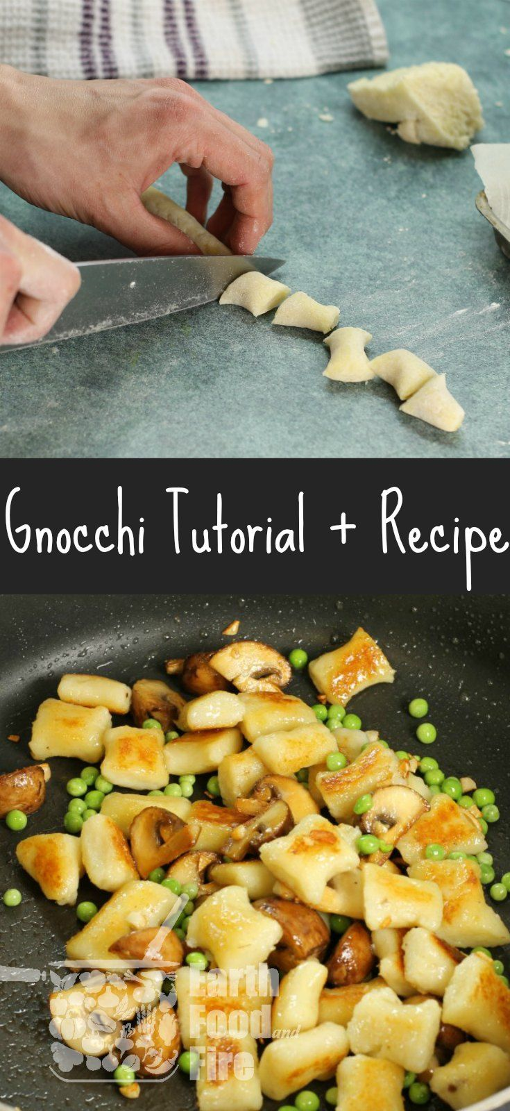 Making gnocchi is not as hard as it may appear. Learn how to make potato gnocchi at home, just like the pros and create a tasty dish with mushrooms and peas. via @earthfoodfire