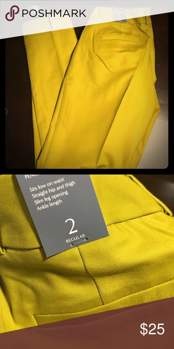 Pencil Pant Capris Size 2 Regular. Pencil pant capris from The Limited. Brand new with tags. Color is a greenish yellow. Almost like a dark mustard yellow. Not bright yellow at all. The Limited Pants Capris