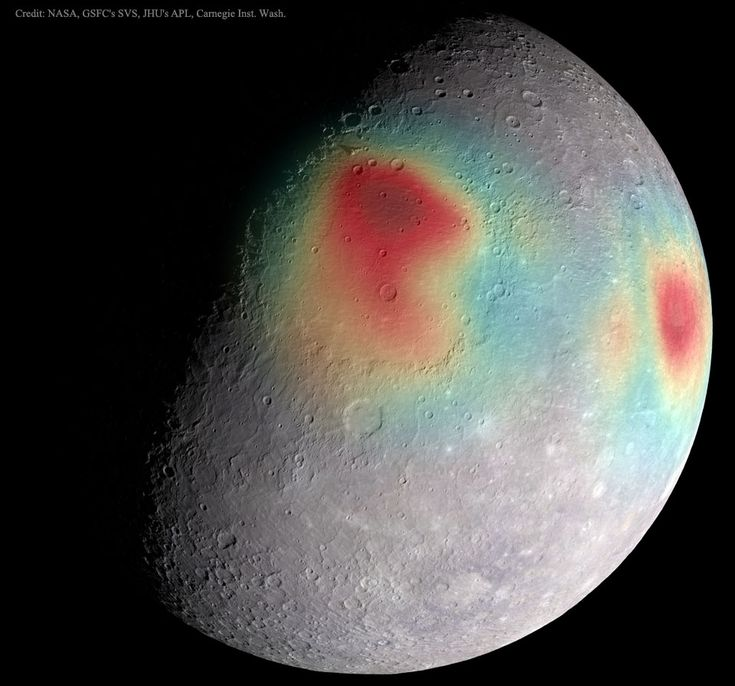Gravitational Anomalies of Mercury: NASA, GSFC's SVS, JHU's APL, Carnegie Inst. Washington: What's that under the surface of Mercury? The robotic MESSENGER spacecraft that had been orbiting planet Mercury for the past four years had been transmitting its data back to Earth with radio waves of very precise energy. The planet's gravity,