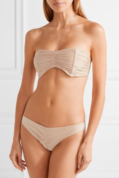 Cali Dreaming - Exclusive Draco Ruched Bandeau Bikini Top - Beige -