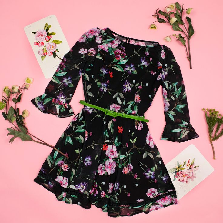 Wild Pixie Dress   Black and Multi