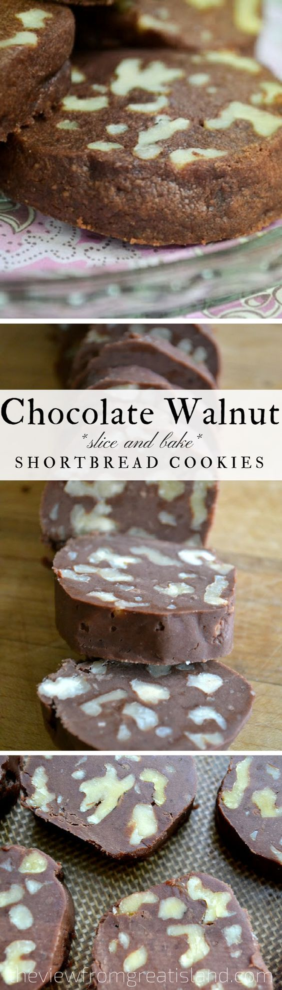 Chocolate Walnut Shortbread Cookies ~ if a cookie and a brownie had a baby they might come up with a delicious buttery cookie like this! #shortbread #cookies #sliceandbakecookies #walnutcookies #chocolatecookies #holidaycookies #Chrismtascookies #shortbreadcookies