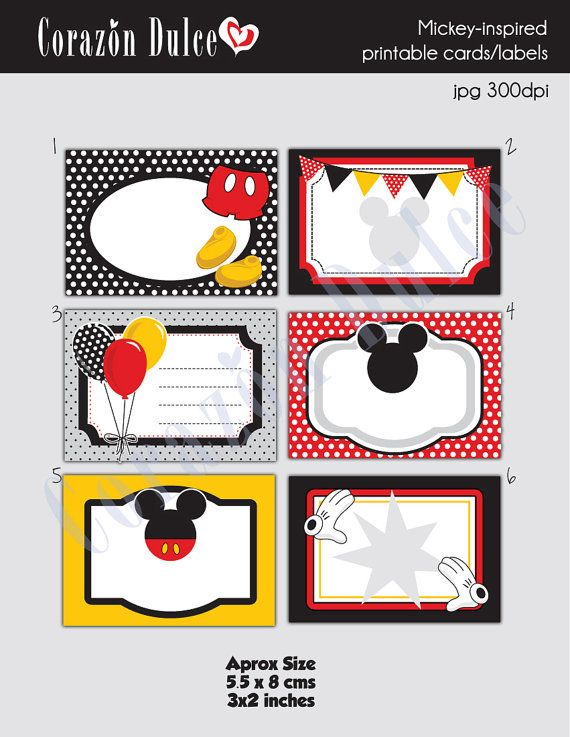 INSTANT DOWNLOAD Mickey-Inspired Printable Cards/tags, book labels