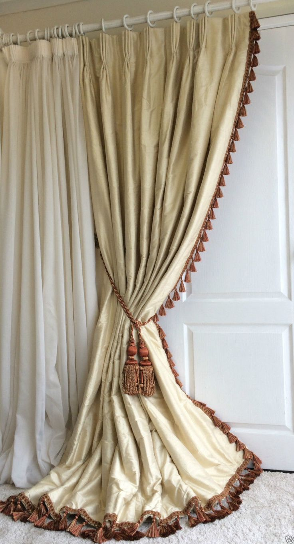 SUPERB 100% SILK Blanket Interlined Curtains & Tiebacks Pale Cream 2 PAIRS AVL.   eBay