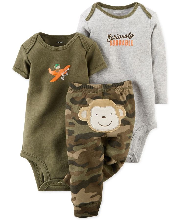 Carter's Baby Boys' 3-Piece Monkey Bodysuits & Pants Set
