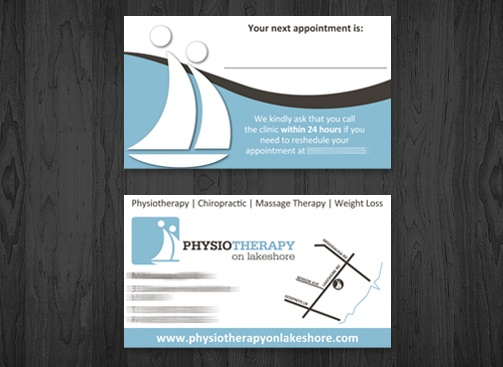 Physiotherapy on Lakeshore business Card.