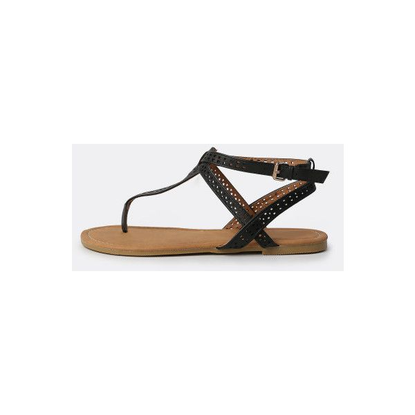 SheIn(sheinside) Geo Cut Thong Sandals BLACK ($20) ❤ liked on Polyvore featuring shoes, sandals, black, black peep toe shoes, ankle strap sandals, black thong sandals, t strap thong sandals and low heel ankle strap sandals