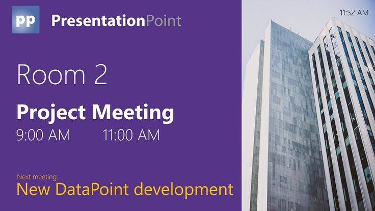 Use PowerPoint and our DataPoint add-on toc reate a meeting room booking system with up-to-date meeting room information on a tablet on the wall.