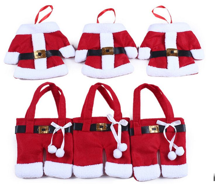 New Hot 120pcs/Set Handmade Christmas Santa Claus Suit Silverware Knives and Forks Pockets Gift Mini Clothes Pants Shaped