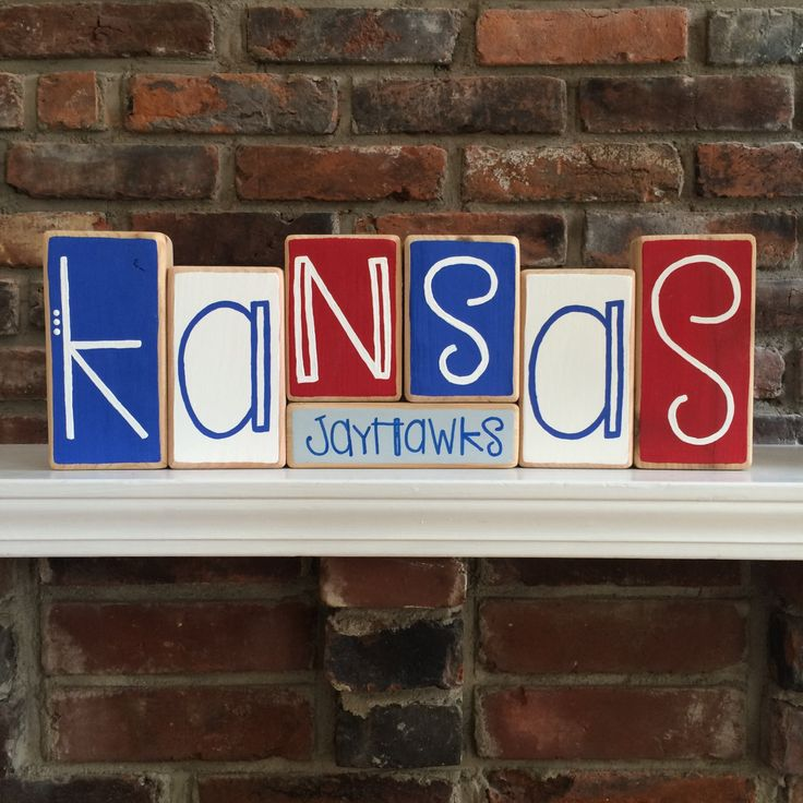 University of Kansas Jayhawks Decor Blocks by RuchalskiRustic on Etsy