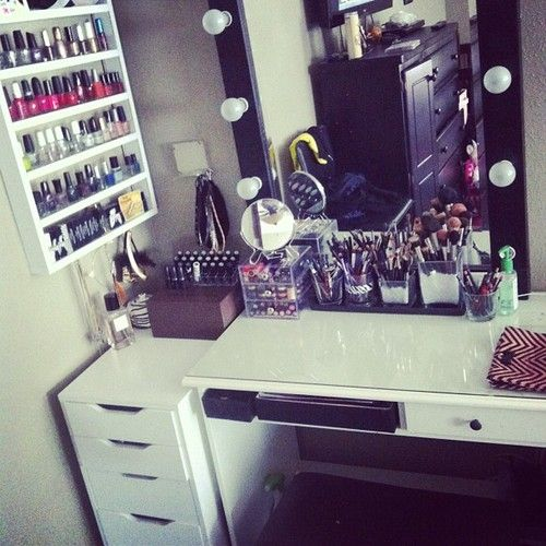 USE THE CABINETS FOR THE MAKE UP AND MAKE IT CUTE!!!!!
