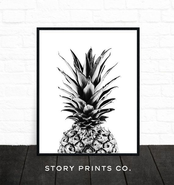 Black And White Kitchen Artwork: Pineapple Print, Wall Art, Black And White Print