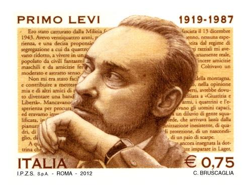 francobollo commemorativo di Primo Levi, nel 25° anniversario della scomparsa. Emissione il 13 novembre  2012
