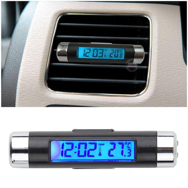 2016 Nuevo 2 in1 Car Auto LCD Clip-on Digital del Contraluz Automotriz automotriz Termómetro Del Calendario Del Reloj digital del reloj del coche CALIENTE