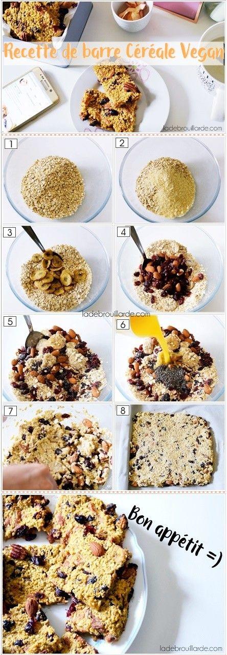 Recette barre céréale maison vegan heatly facile à faire  #vegan #heatly #food #easy #dessert #gouter #cranberry #chia