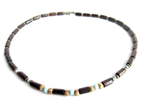 Wooden necklace mens wood beaded necklace man by Bravemenjewelry