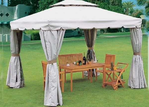 Flamingo Impex Outdoor Patio Fabric Gazebo With Curtains Patio Outdoor Patio Outdoor