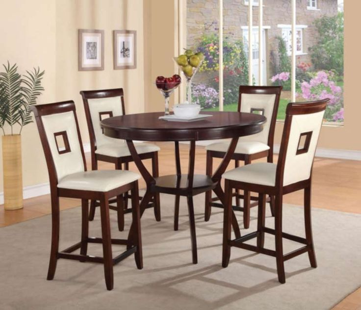 Acme Furniture - Oswell 5 Piece Counter Height Table Set in Cherry - 71605-5SET