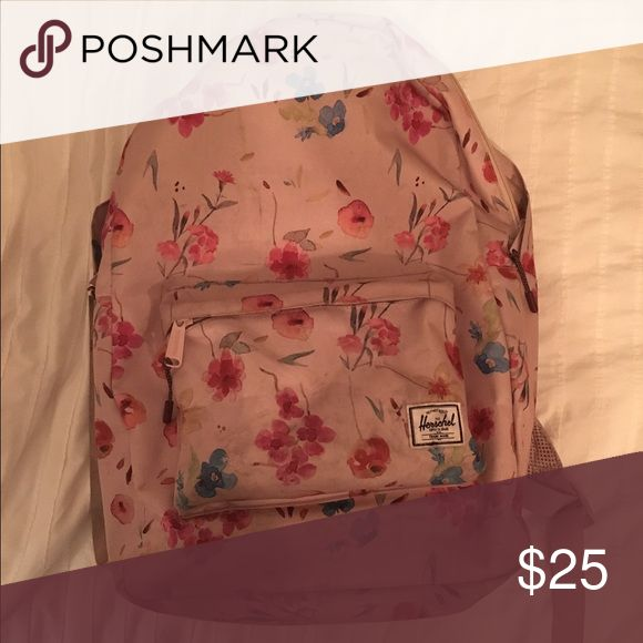 Herschel Floral Backpack Big pocket holds a ton! Small pocket in front is great for keys, wallet, and some chapstick. A little dirty, but could probably be washed since canvas material. Herschel Supply Company Bags Backpacks