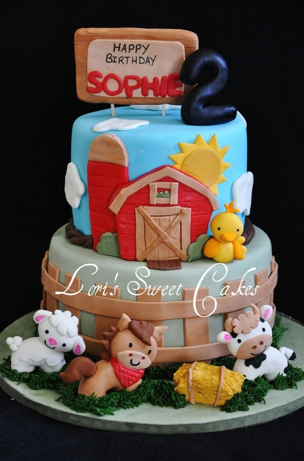 "Barnyard cake w/ cute farm animals. I just want to bring the top tier down and eliminate the bottom tier, so the chick would be in front of the cow and I would add the fence around the tier w/ the barn. Also, I think I would like to add a rooster to the roof of the barn. (This cake could say ""cock-a-doodle-doo, Sophie's turning 2"")."