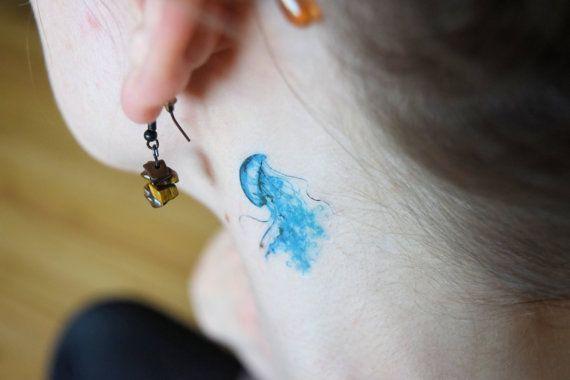 Tiny Watercolour Jellyfish temporary tattoo - Ocean, Sea Life, Blue, Large Tattoo