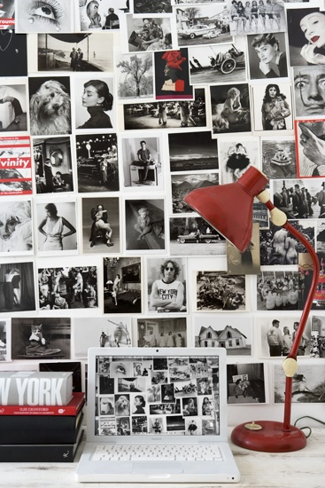 b/w photo wall w/ punches of red foto collage B kleur if zwart wit