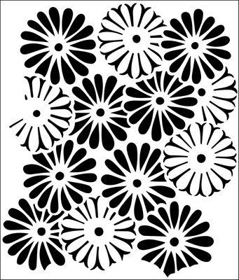 Daisies stencil from The Stencil Library BUDGET STENCILS range. Buy stencils online. Stencil code NC2.