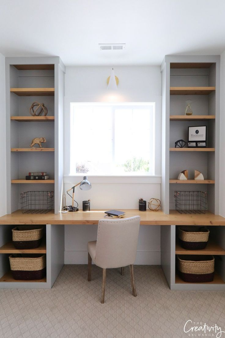 Built in desk with shelves.