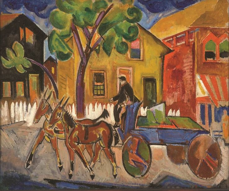 William Sommer Blue Dairy Cart, 1917-18 Oil on board Collection of John and Susan Horseman