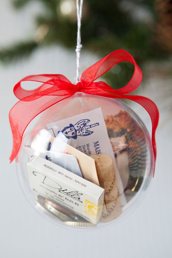 Save special little items from your wedding, honeymoon or bachelorette party to make a keepsake ornament.